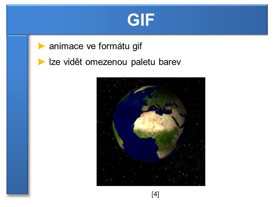 GIF animace ve formátu gif lze vidět omezenou paletu barev [4]